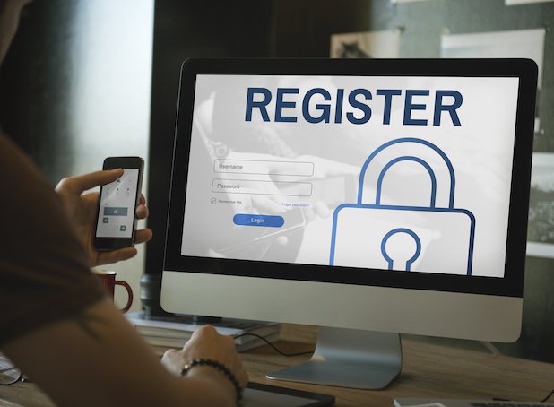 Register log in use password concept